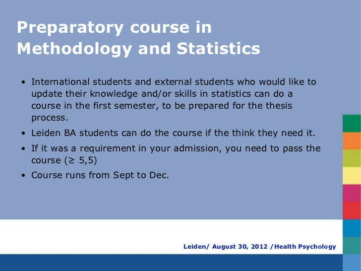 Preparatory course inMethodology and Statistics• International students and external students who would like to  update th...