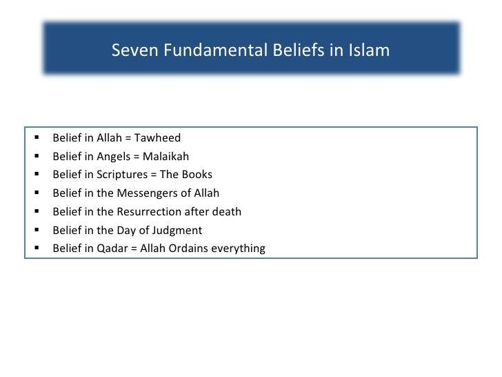 <ul><li>Belief in Allah = Tawheed </li></ul><ul><li>Belief in Angels = Malaikah </li></ul><ul><li>Belief in Scriptures = T...