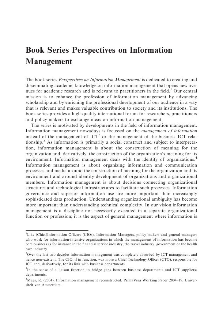 Book Series Perspectives on Information Management  The book series Perspectives on Information Management is dedicated to...