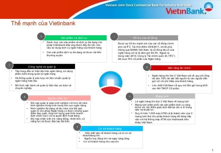 Thế mạnh của Vietinbank <ul><li>Hiểu biết sâu về khách hàng và có cơ sở kháchhàng lớn </li></ul><ul><li>Nguồn huy động lớn...