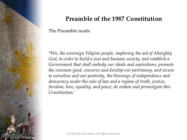 1987 philippine constitution The constitution of the philippines ( filipino : saligang batas ng pilipinas) is the constitution or supreme law of the republic of the philippines its final draft.