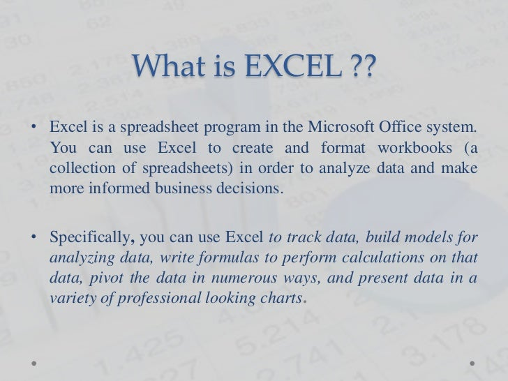 Introduction to Excel Slide 2