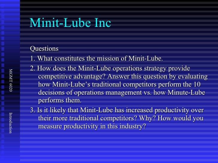 Minit Lube.docx - Minit Lube Summary Minit-Lube stations ...