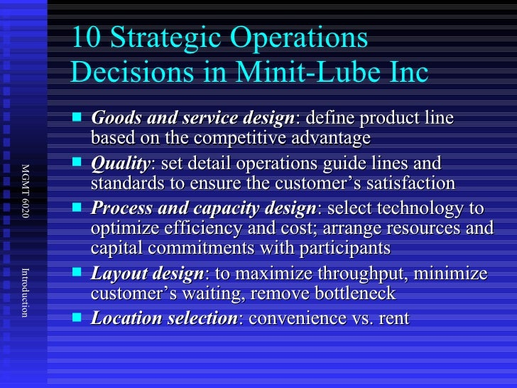 minit lube operations strategy and its competitive Lube 495, inc v jiffy lube intern, inc,  of lube 495 operations at least  eliminate pennzoil's commitment to discontinue its ten minit oil change.