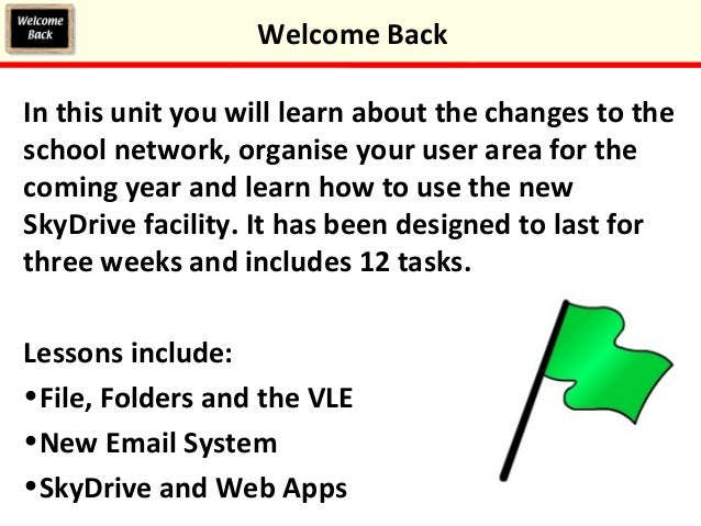 In this unit you will learn about the changes to the school network, organise your user area for the coming year and learn...