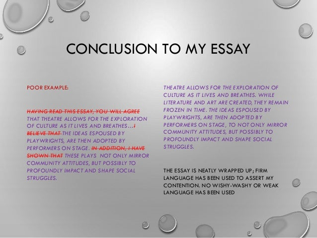 example of a conclusion for exercise Concluding sentences when you write a paragraph, you need to start with a topic sentence, give examples and details in the body, and end with a proper concluding sentence the conclusion is the end of the paragraph.