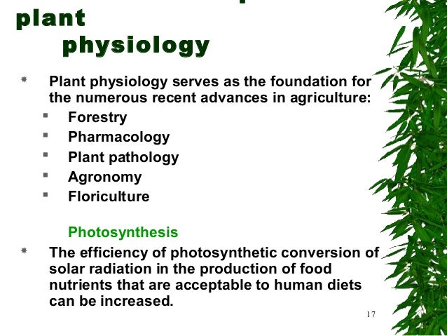 Introduction to principles of plant physiology