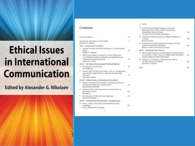 ethical issues in international communication nikolaev alex ander g
