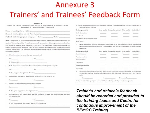 Introduction to training guidelines session plans role of trainers – Training Session Feedback Form