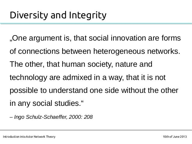 """Diversity and Integrity""""One argument is, that social innovation are formsof connections between heterogeneous networks.The..."""