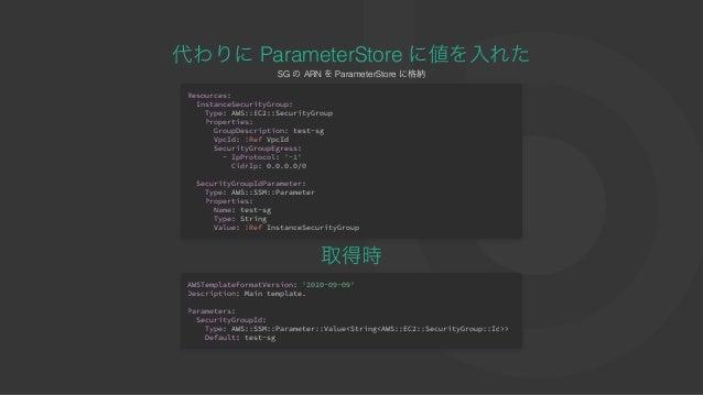 代わりにParameterStore に値を⼊れたSG のARN をParameterStore に格納 Resources: InstanceSecurityGroup: Type: AWS::EC2::SecurityGroup Prope...