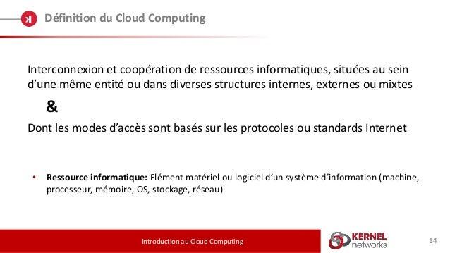 14 Définition du Cloud Computing Introduction au Cloud Computing Interconnexion et coopération de ressources informatiques...