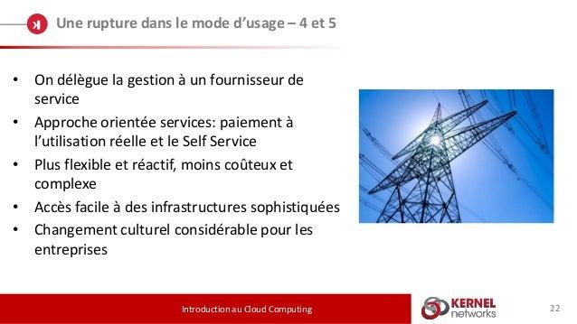 22 Une rupture dans le mode d'usage – 4 et 5 Introduction au Cloud Computing • On délègue la gestion à un fournisseur de s...