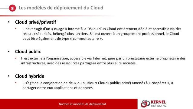 Les modèles de déploiement du Cloud Normes et modèles de déploiement • Cloud privé/privatif • Il peut s'agir d'un « nuage ...