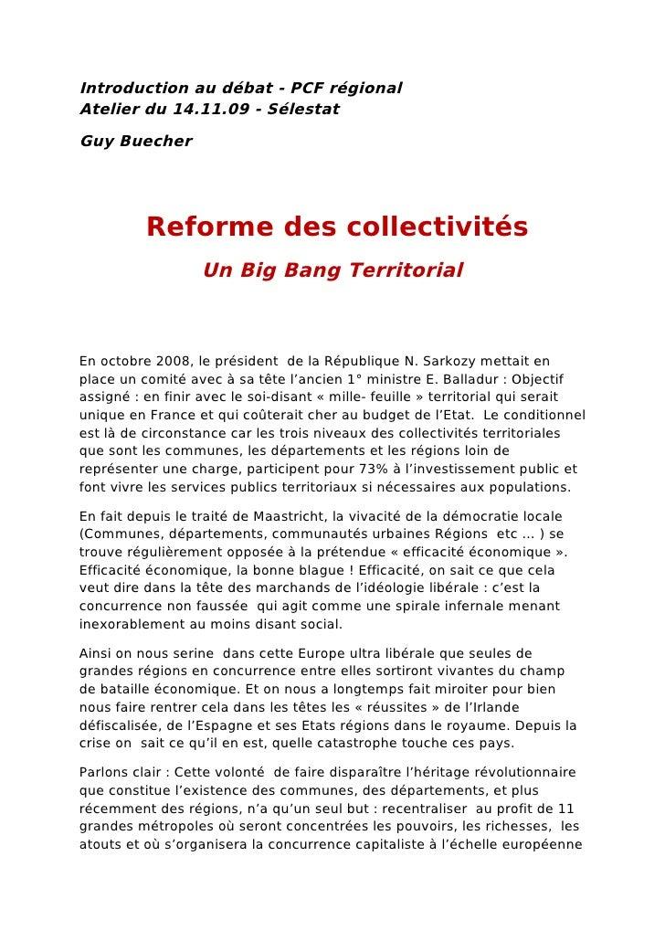 Introduction au débat - PCF régional Atelier du 14.11.09 - Sélestat Guy Buecher               Reforme des collectivités   ...