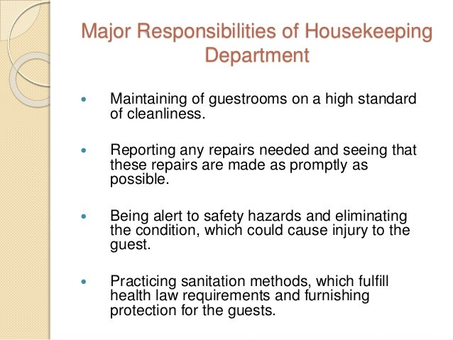 20 major responsibilities of housekeeping. Resume Example. Resume CV Cover Letter