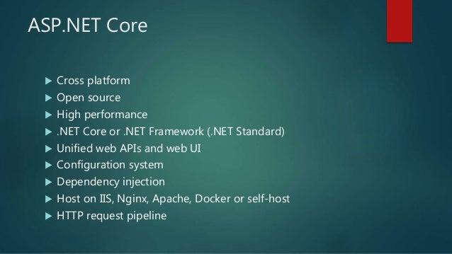 ASP.NET Core  Cross platform  Open source  High performance  .NET Core or .NET Framework (.NET Standard)  Unified web...