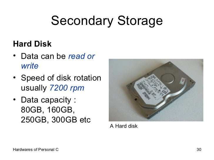 secondary disk storage essay Presentation on memory 11,158 views share like  secondary storage magnetic tape magnetic disk cd-rom hard disk floppy disk types of secondary storage.