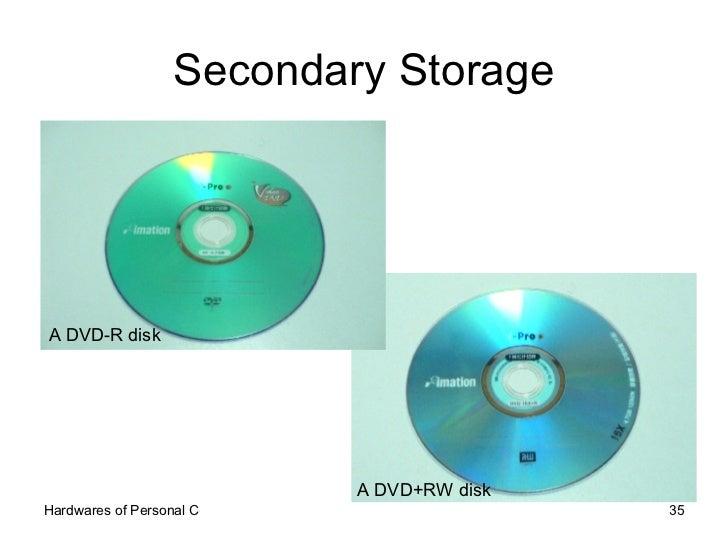 Secondary Storage A DVD-R disk A DVD+RW disk