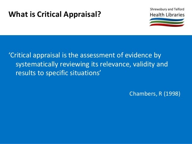 Introduction to Critical Appraisal Slide 3