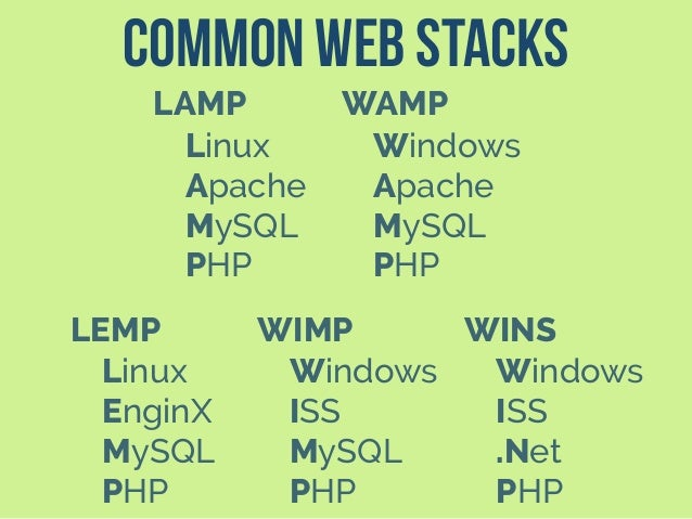 Common Web Stacks LAMP Linux Apache MySQL PHP LEMP Linux EnginX MySQL PHP WAMP Windows Apache MySQL PHP WIMP Windows ISS M...