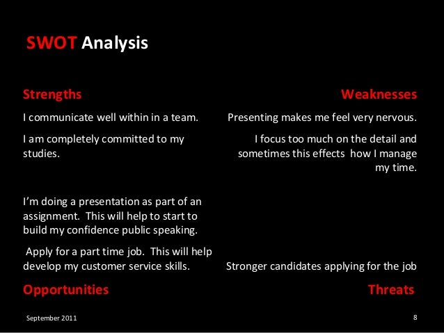 employability skills and swot analysis A swot analysis is a planning tool which seeks to identify the strengths, weaknesses, opportunities and threats involved in a project or business.