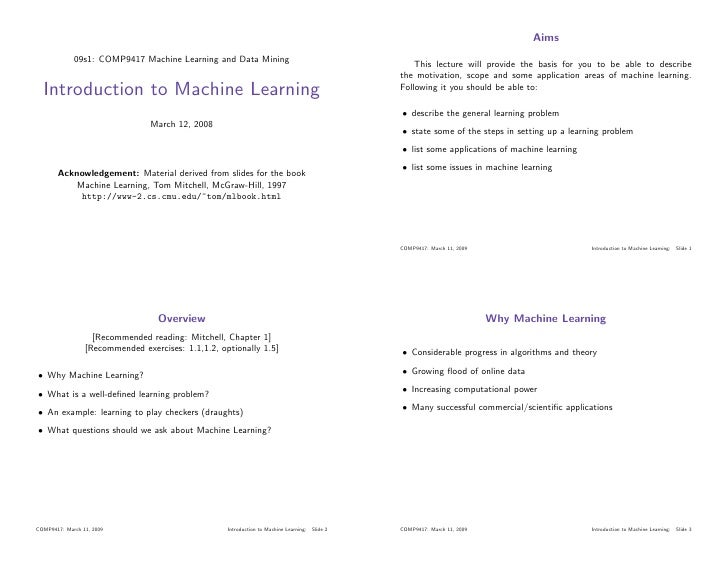 Aims              09s1: COMP9417 Machine Learning and Data Mining                                        This lecture will...