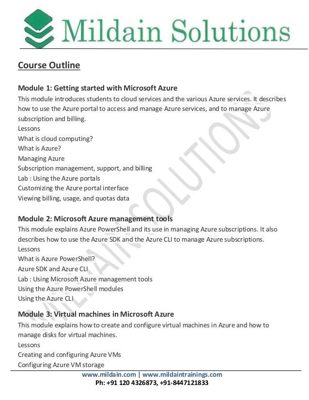 Introduction To Microsoft Azure 10979 Course Outline