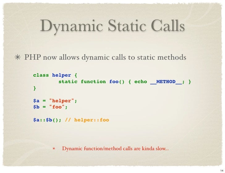 php static function