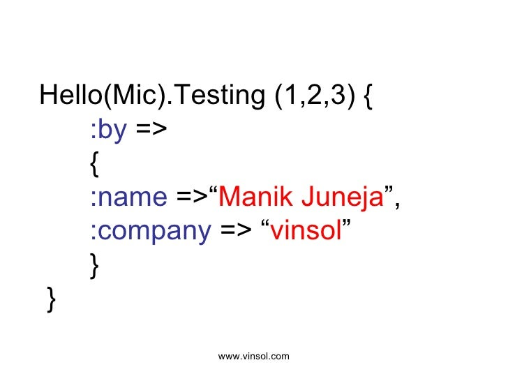 "Hello(Mic).Testing (1,2,3) { :by  => { :name  =>"" Manik Juneja "", :company  => "" vinsol "" }  }"