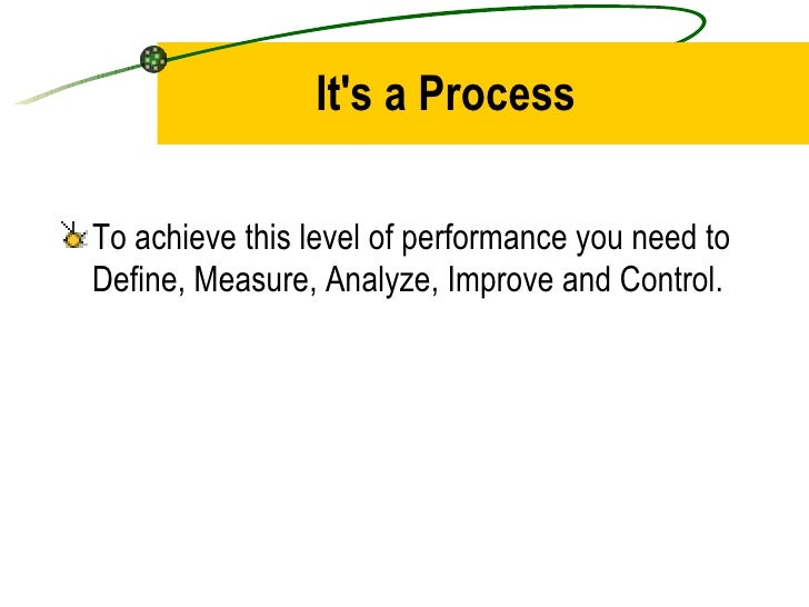 It's a Process <ul><li>To achieve this level of performance you need to Define, Measure, Analyze, Improve and Control. </l...
