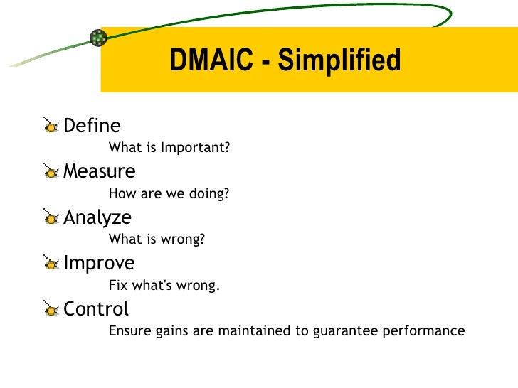 DMAIC - Simplified <ul><li>Define </li></ul><ul><ul><ul><li>What is Important? </li></ul></ul></ul><ul><li>Measure </li></...
