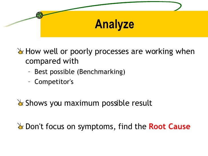 Analyze <ul><li>How well or poorly processes are working when compared with </li></ul><ul><ul><li>Best possible (Benchmark...
