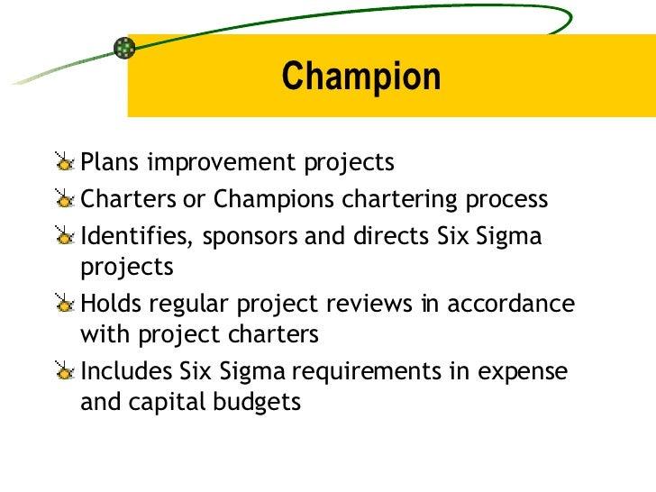 Champion <ul><li>Plans improvement projects </li></ul><ul><li>Charters or Champions chartering process </li></ul><ul><li>I...