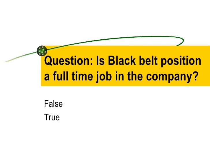 Question: Is Black belt position a full time job in the company? False True