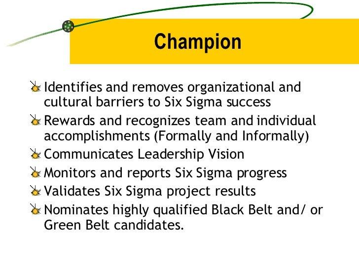 Champion <ul><li>Identifies and removes organizational and cultural barriers to Six Sigma success </li></ul><ul><li>Reward...