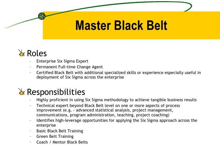 Master Black Belt <ul><li>Roles </li></ul><ul><ul><li>Enterprise Six Sigma Expert </li></ul></ul><ul><ul><li>Permanent Ful...
