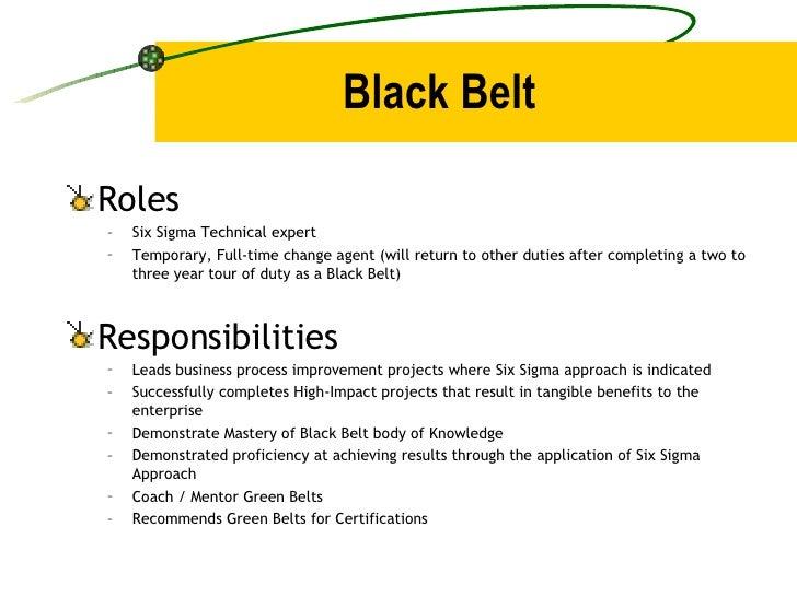 Black Belt <ul><li>Roles </li></ul><ul><ul><li>Six Sigma Technical expert </li></ul></ul><ul><ul><li>Temporary, Full-time ...