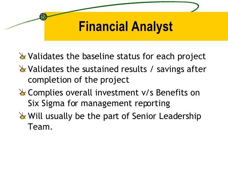 Financial Analyst <ul><li>Validates the baseline status for each project </li></ul><ul><li>Validates the sustained results...