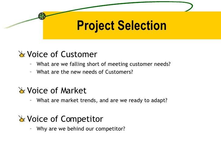 Project Selection <ul><li>Voice of Customer </li></ul><ul><ul><li>What are we falling short of meeting customer needs? </l...