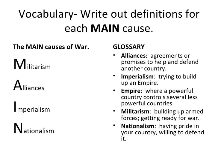 four causes of ww1 essay We will write a custom essay sample on 4 causes of ww1(main) for you for only $1390/page order now.