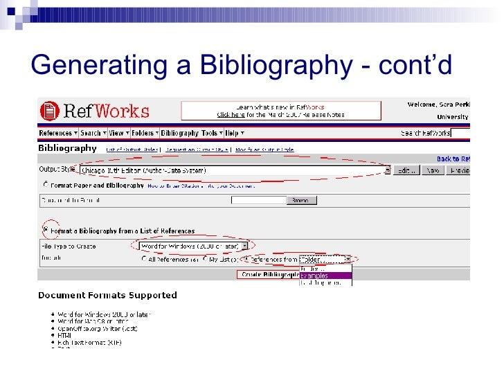 Generating a Bibliography - cont'd