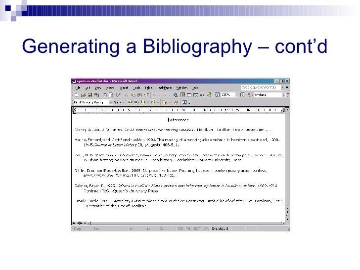 Generating a Bibliography – cont'd