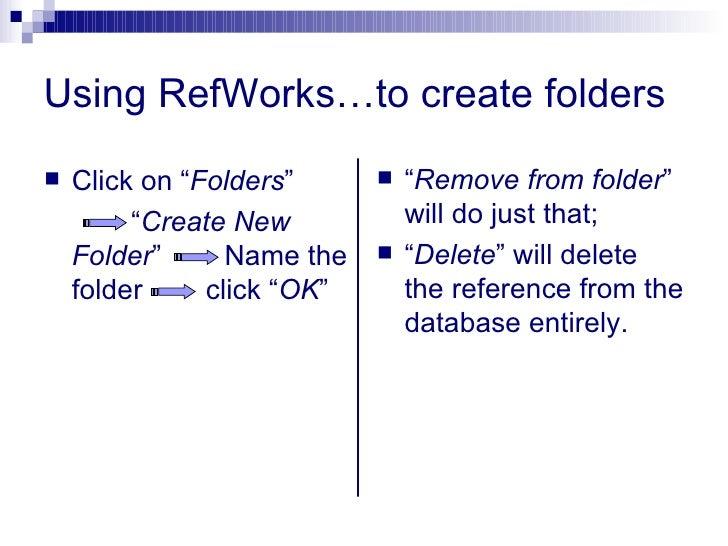 "Using RefWorks…to create folders <ul><li>Click on "" Folders ""  </li></ul><ul><li>"" Create New Folder ""  Name the folder  c..."