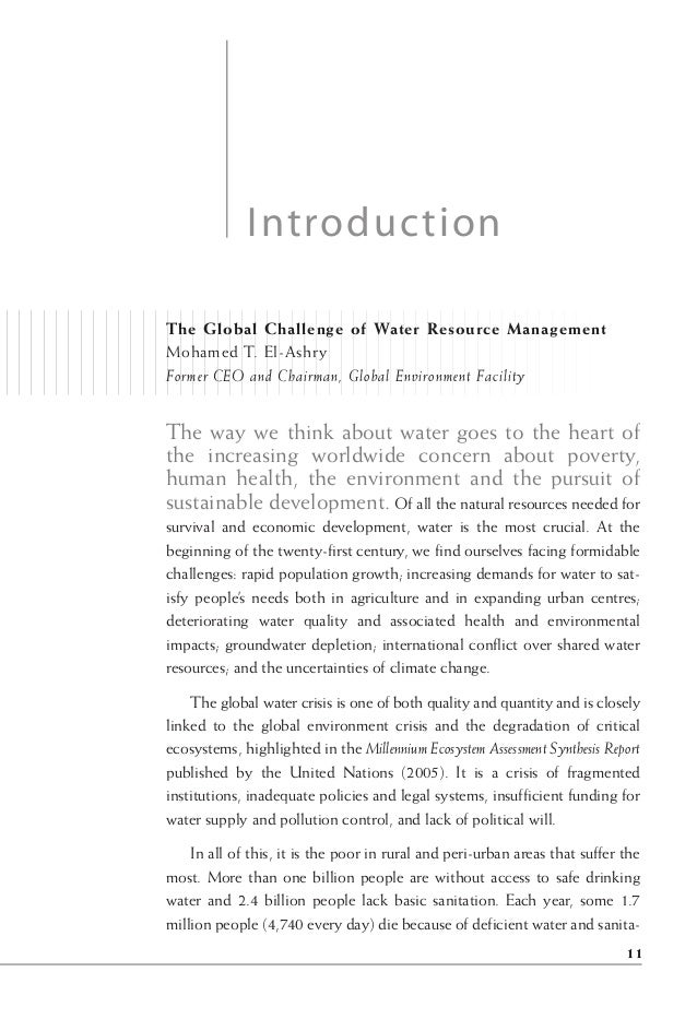 The Global Challenge of Water Resource Management Mohamed T. El-Ashry Former CEO and Chairman, Global Environment Facility...