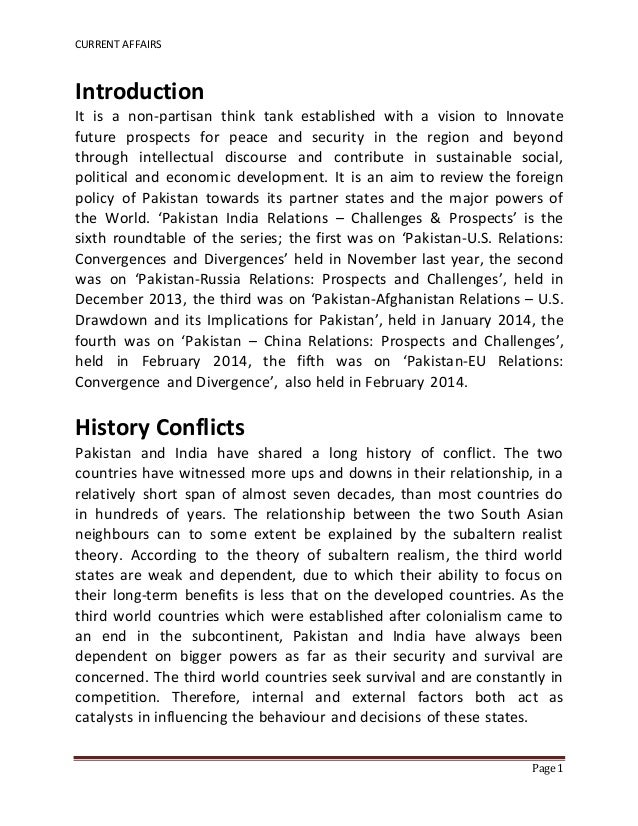 CURRENT AFFAIRS Page 1 Introduction It is a non-partisan think tank established with a vision to Innovate future prospects...