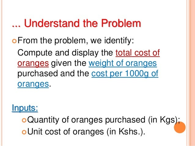 ... Understand the ProblemFrom the problem, we identify:Compute and display the total cost oforanges given the weight of ...