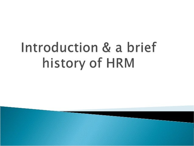 Brief history of human resource management
