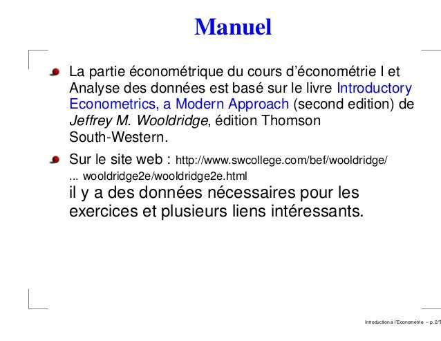 Introduction a l'econometrie luxembourg 2008 2009 Slide 2