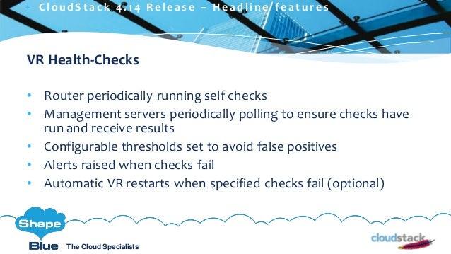 C l i c k t o e d i t The Cloud Specialists ShapeBlue.com @ShapeBlueThe Cloud Specialists VR Health-Checks • Router period...